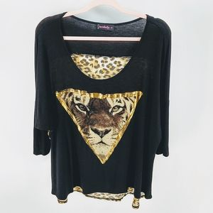 🐾Annabelle Gold Tiger Cheetah Dolman Sleeve Shirt